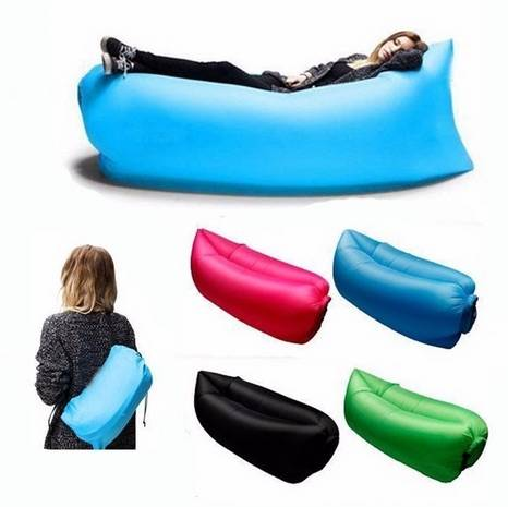 Others Inflatable Camping Sofa Portable Inflatable Camping Sofa Air Bed Sleeping Bag, Rose Pink