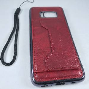 Electroplating TPU & Leather Case with Card Holder & Metal Sheet